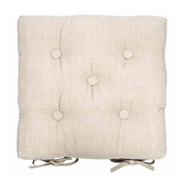 Square Buttoned Seat Pad with Ties - Linen colour
