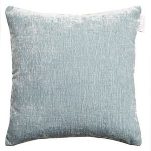 Voyage Chenile Velvet and Linen Reversible Cushion - Duck Egg