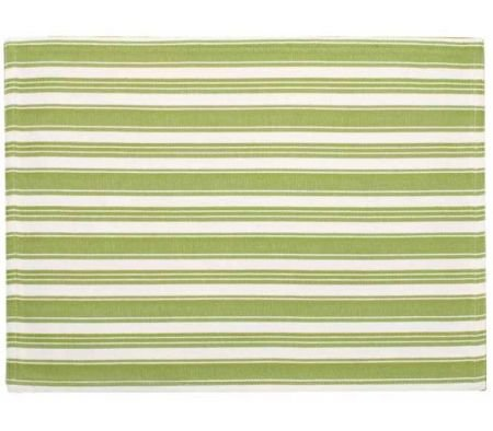 Set of 4 Green / Green White Stripe Placemats