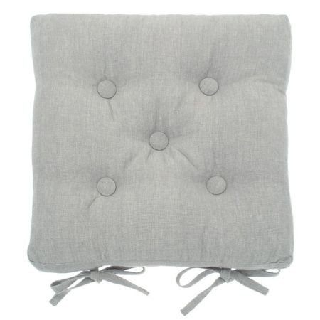 Mid Grey Buttoned Chair Pad with ties