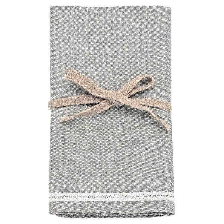 Set of 4 Grey Napkins with cotton trim detail