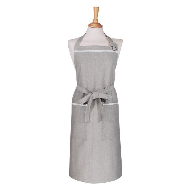 Mid grey apron with cotton trim