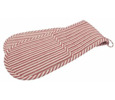Double Oven Glove Red Ticking Stripe