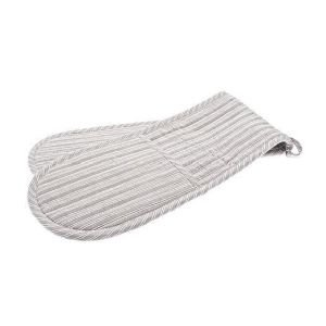 Double oven Glove Grey Ticking Stripe