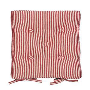 Red ticking stripe chair pad