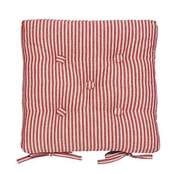 Red ticking stripe seat pad Kitchen Chair Pads
