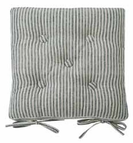 Navy ticking stripe chair pad
