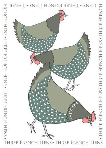 Three french hen tea towel