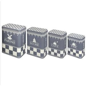 Set of 4 grey/red storage tins
