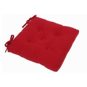 Square buttoned chair pad with ties- Red