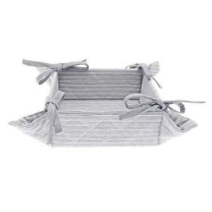 Grey Ticking Bread Basket