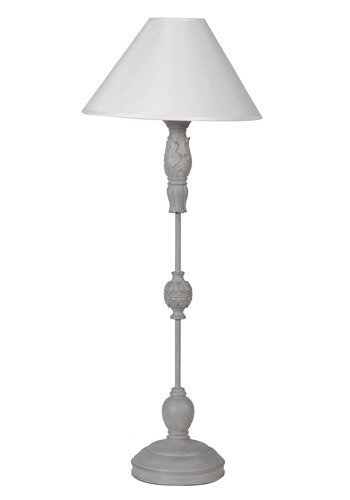 Grey Slender Tall Table Lamp With Shade