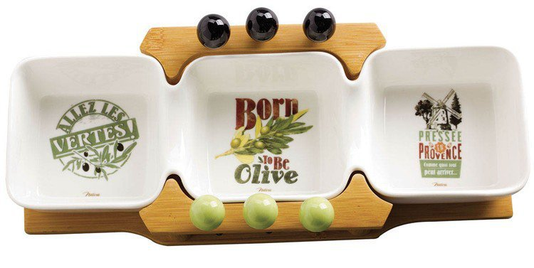 3 Bowl Olive Tray With Olive Shape Picks