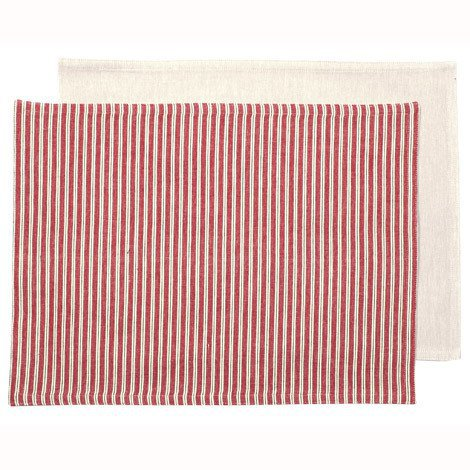 Red Ticking Fabric Placemats