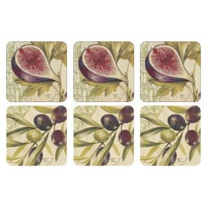 Set of 6 Fig and Olive Coasters