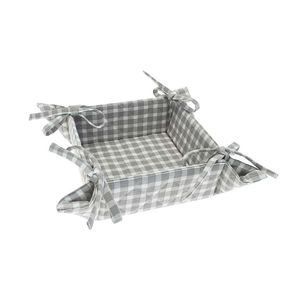 Dove Grey Check Bread Basket with ties