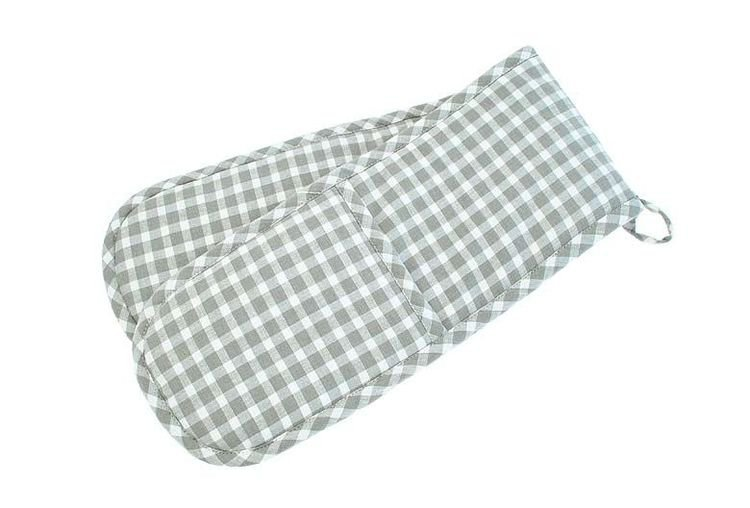 Dove Grey Check Double Oven Glove