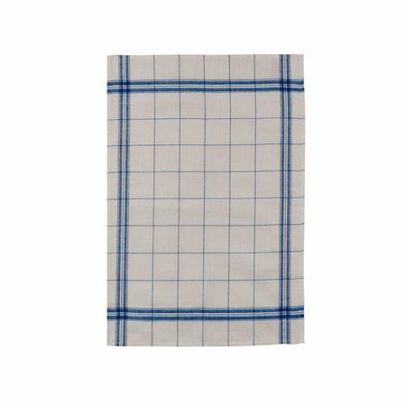 French Tea Towel Linen Blue and Linen Check
