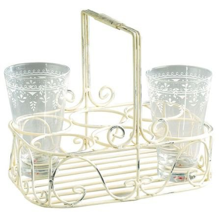 Cream Glass Holder