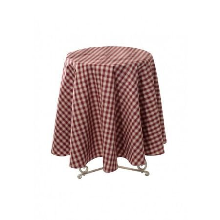 Round Red Check French Linen Tablecloth 180cm