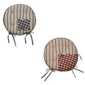 Campagne Red Reversible Round Chair Pad with Ties