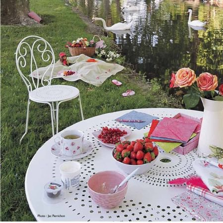 Fermob Montmartre Table & 4 Montmartre Chairs - Metal Garden Furniture Sets