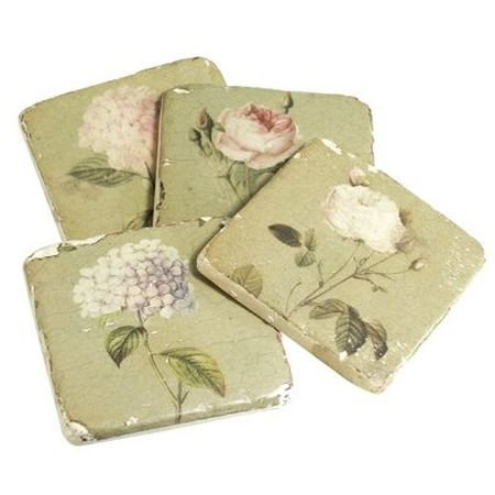 Set of 4 Tile Flower Coasters - French Home Accessories