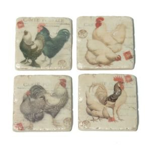 Set of 4 Tile Cockeral Coasters