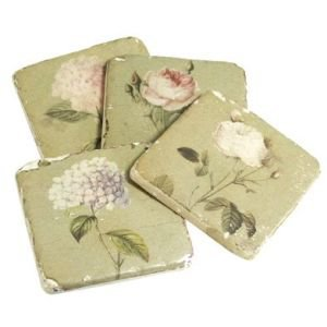 Set of 4 Tile Coasters Floral
