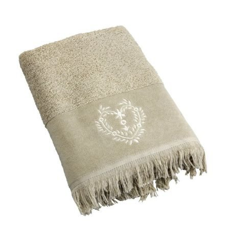 Heart Bath Sheet - Beige