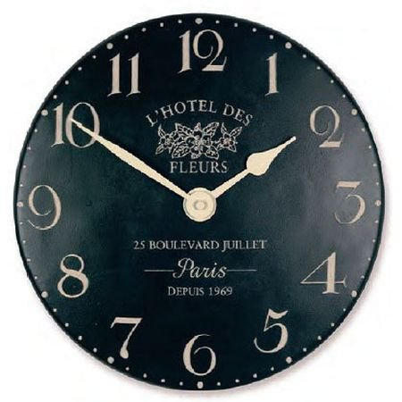 French Style Clock - Hotel de Fleurs Black  - French Home Accessories