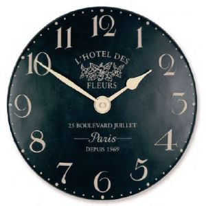 French Style Clock - Hotel de Fleurs Black