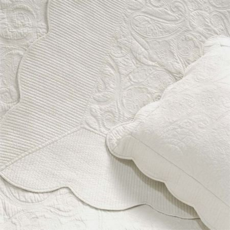 Double Byzance Ivory Quilted White Bed Linen Cover Set