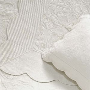 Double Byzance Ivory Quilted Shabby Chic Bedding Cover Set